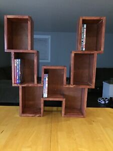 Handcrafted real wood W Blu-ray and DVD shelf