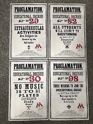 Harry Potter - Licensed Replica - Ministry Of Magic Proclamation Notice Set Of 4