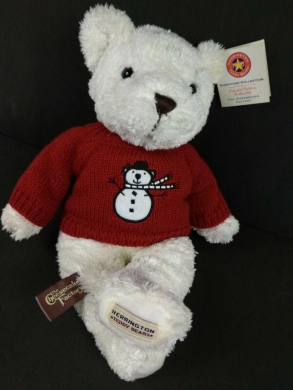 "Herrington 14"" Plush Teddy Bear Cheesecake Factory Fresh Strawberry w/ Snowman"