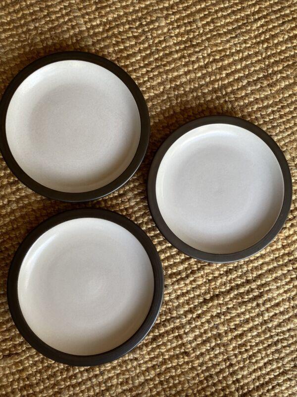 "Vintage 3 Heath Ceramic Rim Shape 9.5"" White Brown Luncheon Salad Plates Cal Mod"