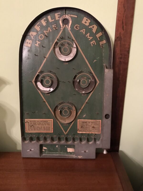Antique Vintage Baffle-Ball Home Game 1930s Board Only Wall Art Billiard