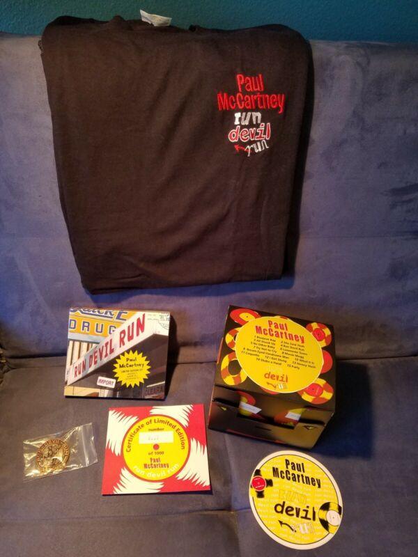 "SUPER RARE LE BOX SET PAUL McCARTNEY ""RUN DEVIL RUN"" w/ CDs + T-Shirt + Badge"