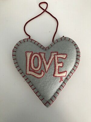 Jan Constantine Love Hanging Heart Duck Egg Blue Light Wool Cushion