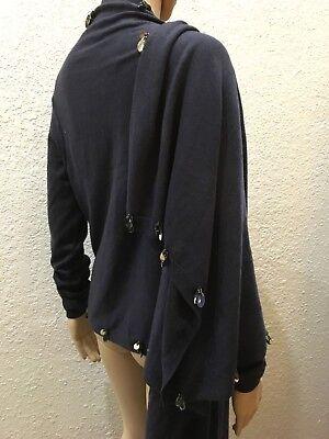 - BCBG MAXAZRIA $210 Charcoal Gray Silver Bead Wool Cardigan Sweater Scarf Wrap XL