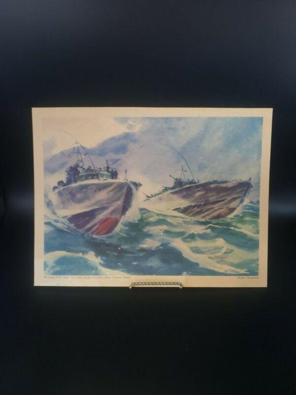 Ship Art Print c1940s, Torpedo Boats, WWII Navy Print by Arthur Beaumont