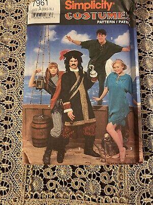 Simplicity 7961 Costumes Peter Pan Tinkerbell Captain Hook Pirate XXS-XL Uncut