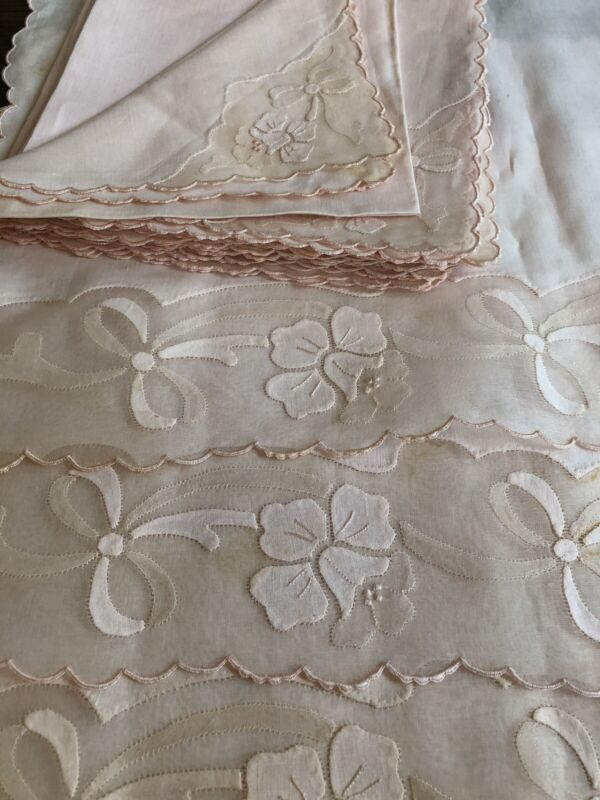 UNUSED Vintage MADEIRA Table Linen Organdy Applique Placemats Napkin Set 8 PINK!