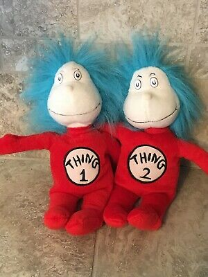 """Dr Seuss Thing 1 and Thing 2 Plush 12"""" Cat in the Hat Movie Merchandise - Thing1 And Thing2"""