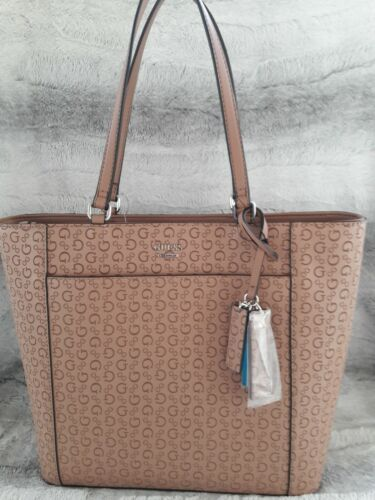 Guess Hickory Tote Satchel Nut Color Signature PVC Leather B