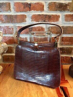 1940s Handbags and Purses History Lizard Handbag 1940s Handbag Top Handle Handbag Vintage Handbag $65.00 AT vintagedancer.com
