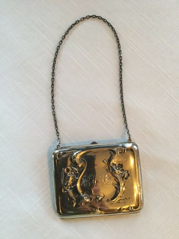 Antique Sterling Silver Ladies Small Purse Leather Interior