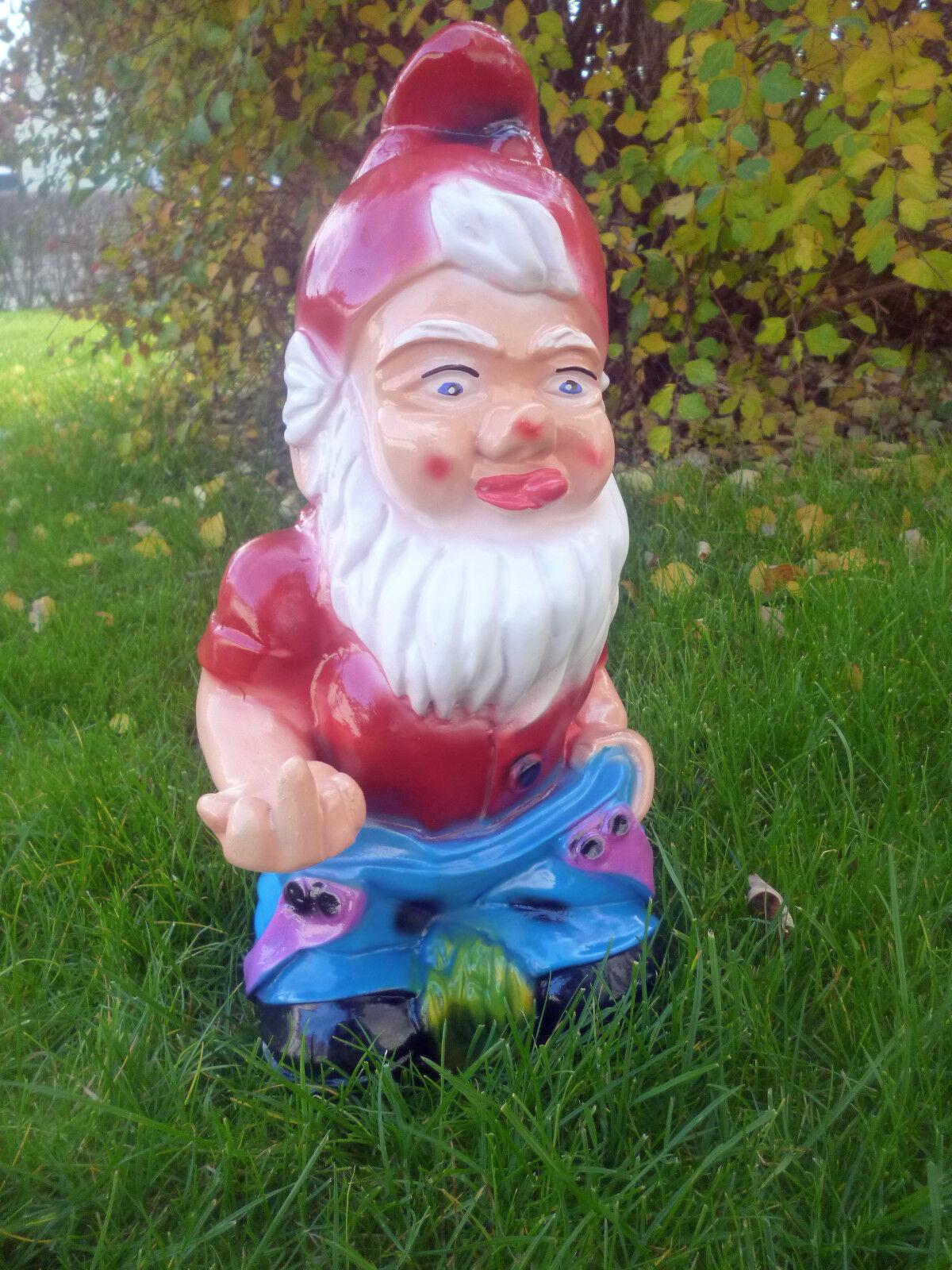 Gartenzwerg Hose Blau Stinkefinger und Po ca 37 cm Zwerg Figur Dekoration Deko