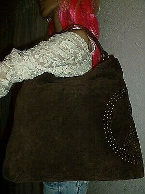LUCKY BRAND Brown Suede Peace Sign Hobo Bag Shoulder Bag Handbag Purse EUC!