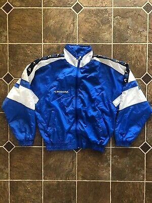 Vintage 90s Diadora Jacket Soccer Color Block Track Windbreaker Sz Small S Blue