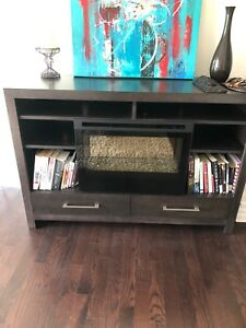 Electric fireplace console table