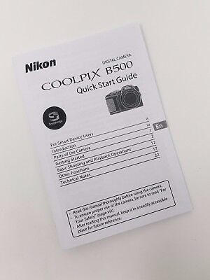 Nikon Coolpix B500 Genuine Instruction Owners Manual B500 Book Original NEW