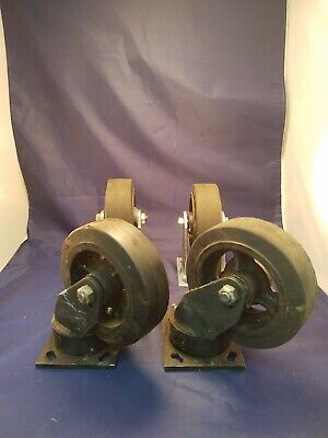Set Of Albion 6 Industrial Cast Iron Casters