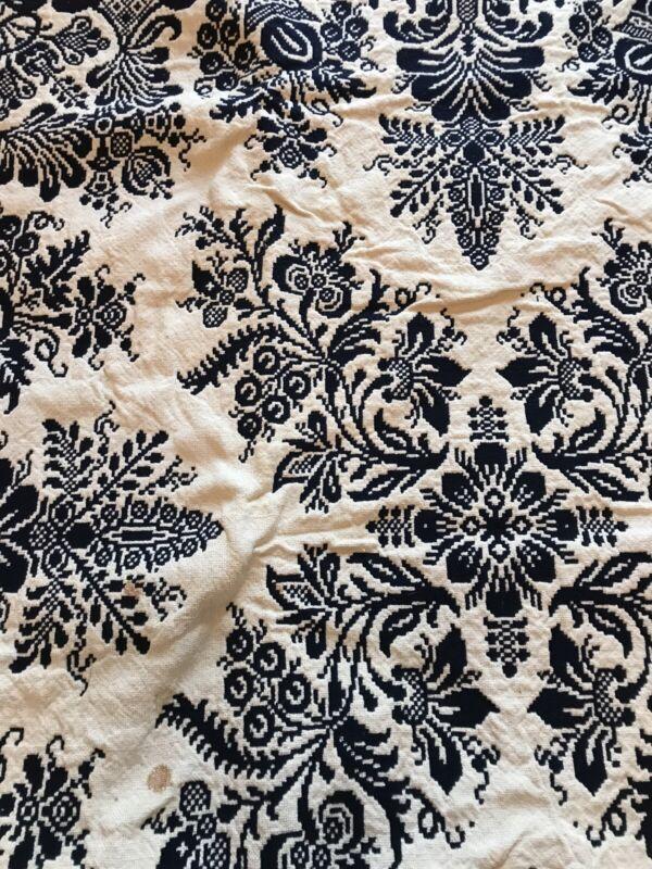 Antique Blue & White Woven Jacquard Reversible Coverlet