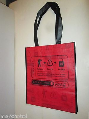 COKE COCA COLA SODA REUSABLE SHOPPING BAG TOTE RECYCLED LIVE POSITIVELY