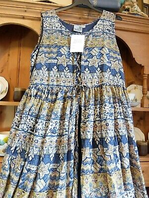 STUNNING VINTAGE C 80s PHOOL INDIAN COTTON GAUZE SUNDRESS NWT MAXI ETHNIC 12-14