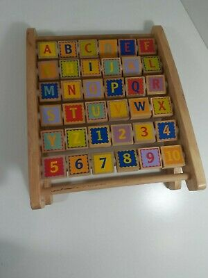 ABC-123 Abacus - Classic Wooden Educational Toy With 36 Letter and Number Tiles