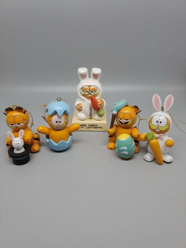 Vintage Lot Garfield Easter Ornament Wooden Rabbit Carrot with Bonus Ceramic