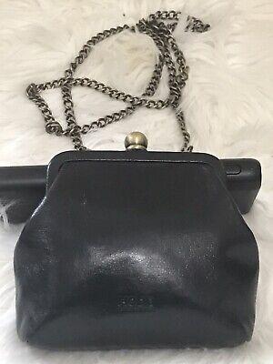 Hobo International Black Leather Kisslock Expandable Chain Crossbody Shoulder Hobo Black Evening Bags