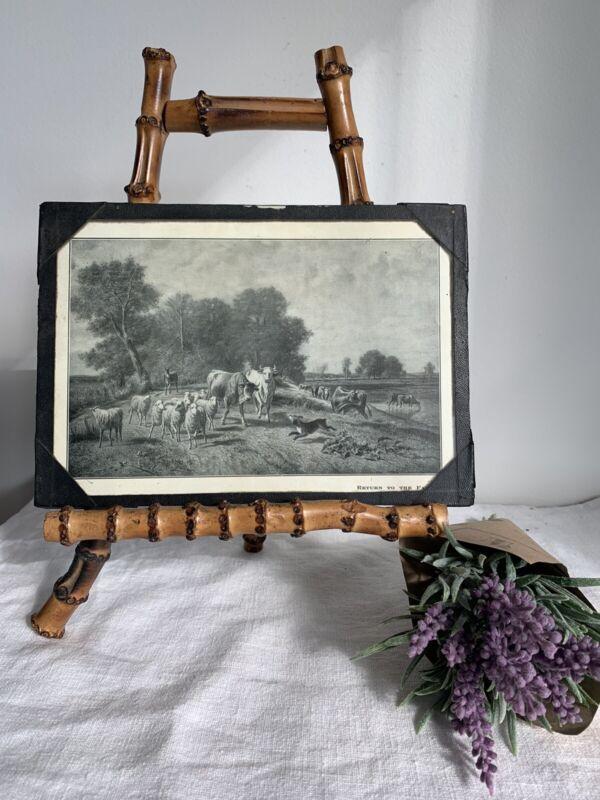 "ANTIQUE VINTAGE COW PICTURE ""Return To The Farm"" Under Glass ~ Black/white"