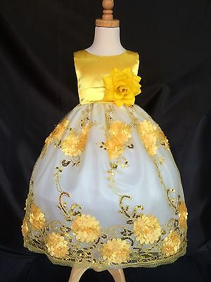 Yellow Flower Girl Bridesmaids Floral Embroidery Broke Summer Dress #09