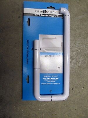 Interdesign Paper Towel Holder, Wall-Mount, White Plastic #35001  NEW