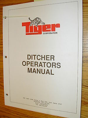 Tiger Ditcher Mower Operation Maintenance Manual Guide Ditch Cutter Operator