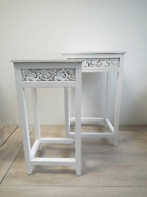 Telefontisch Blumenständer Beistelltisch –Holz weiß  Shabby - groß / klein / Set (Kleiner Beistelltisch Groß)
