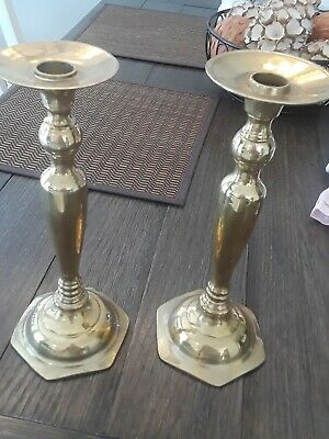 A Pair of Brass Candlesticks  10 Inches