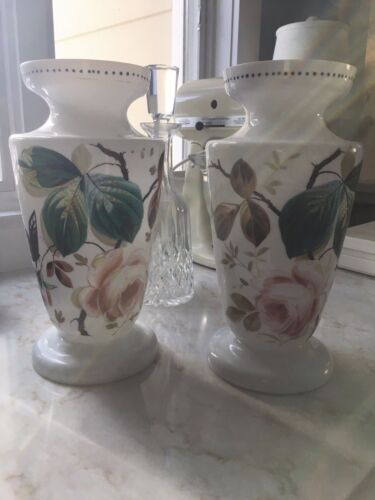 PAIR OF ANTIQUE BRISTOL ,HAND PAINTED  FLORAL GLASS VASES~ROSES