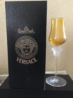 Versace Rosenthal Medusa Lumiere Crystal Grappa Tulip Glass Wine