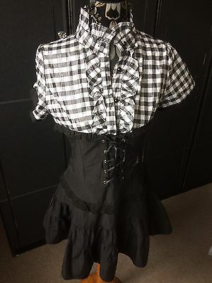 VINTAGE 80s  RA RA DRESS BLACK & WHITE Or available In RED & BLACK Small
