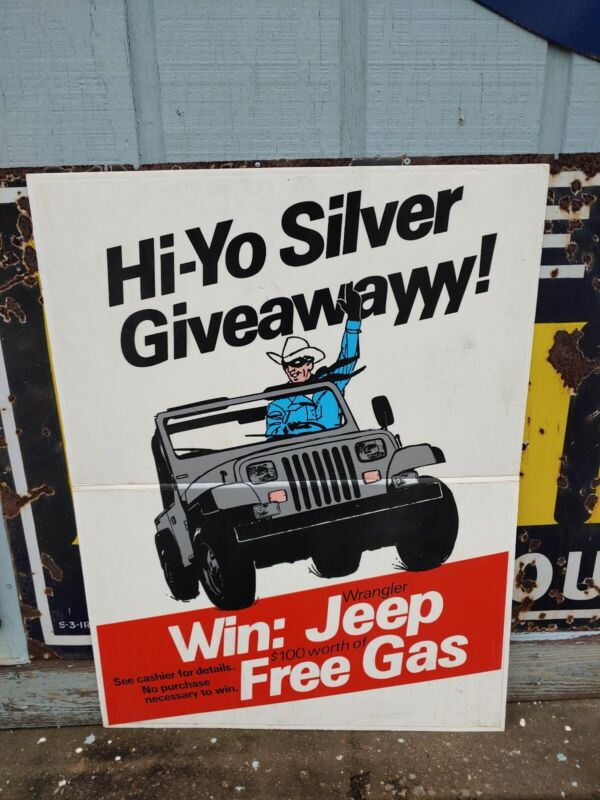 Vintage Amoco Gas Hi Yo Silver Lone Ranger YJ Jeep Wrangler Giveaway Sign Oil
