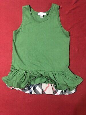 Burberry Children Girls Sleeveless Bright Green Peplum Top Tunic Sz 10 Y/140 cm