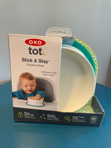 NEW OXO Tot Stick & Stay Suction Bowl Teal Babies Infants Toddler Snacks Meals