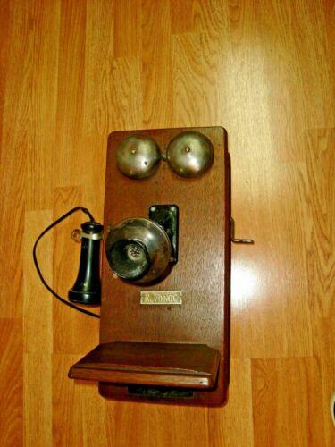 Antique H.S.B & Co Oak Wall Phone-1899