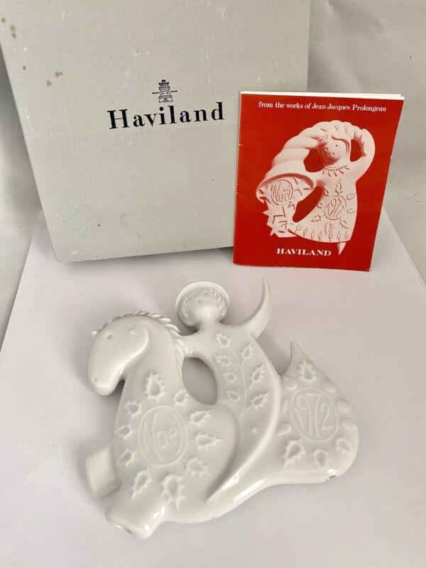 1972 HAVILAND Limoges FRANCE Porcelain HORSE & ANGEL Christmas Ornament IOB