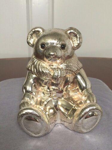 Vintage RALPH LAUREN Genuine Silver-Plate Heavy Teddy Bear Coin Bank Paperweight