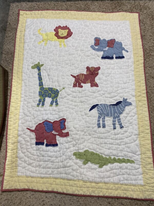 """Pottery Barn Kids Zoo Baby Animal Quilt With Green Backing. 36""""x 48"""""""