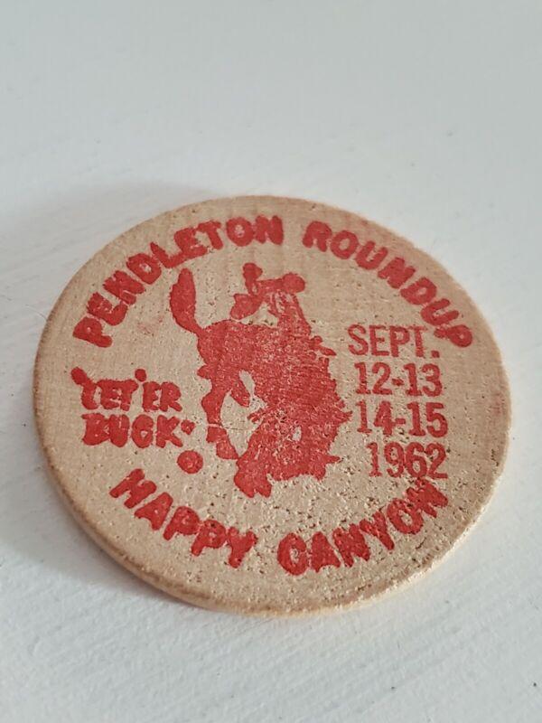 Vintage 1962 Pendleton Roundup Wooden Nickel Coin
