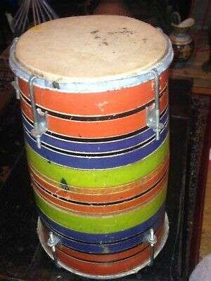 Vintage Indian Tabla Drum, brightly painted with stripes, skins on both ends