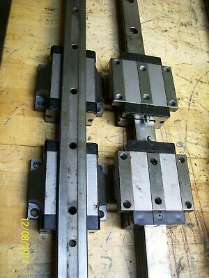 1 Set 4 Rexroth R165331420 Linear Bearing Blocks 2 1115mm Rails 44