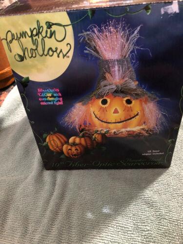 "Halloween Fiber Optic Scarecrow Pumpkin Head 10"" Color Changing Original Box"