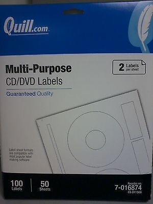 50 Sheets 100 Labels - Quill Cddvd Labels Multi-purpose White 8-12 X 11