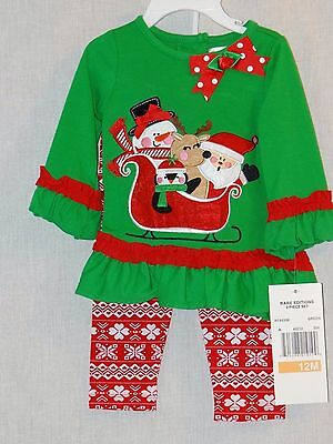 New Rare Editions 2 Piece Christmas Outfit Green Red Santa Snowman NWT 12M ()