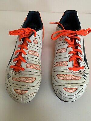 Boys Puma Evo Power 4 Football Boots Size UK 5.5  White Orange Lace Up